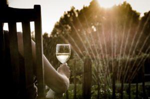 Woman enjoying a glass of wine as sprinklers turn on in her yard.