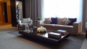 Luxury apartment interior full of light.